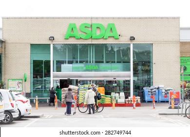 CAMBRIDGE, ENGLAND - 7 May 2015: ASDA supermarket shopfront in Beehives Centre, Coldhams lane, Cambridge, UK