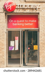 CAMBRIDGE, ENGLAND - 7 MAY 2015: 'Virgin money'  is bank owned by Virgin Enterprises Limited, for current accounts, credit cards, investments, mortgages, insurance etc