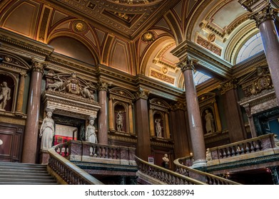 CAMBRIDGE, ENGLAND - April 23: Interior of the FitzWilliam Museum for antiquities and fine arts at Cambridge, England