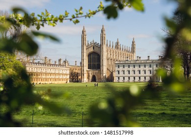 Cambridge, England - April 8th 2019: The famous King's College seen through branches