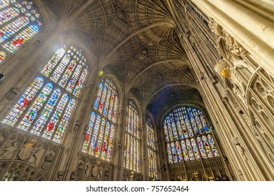 Cambridge, England - August 2015. Interior of the King's College Chapel. University of Cambridge