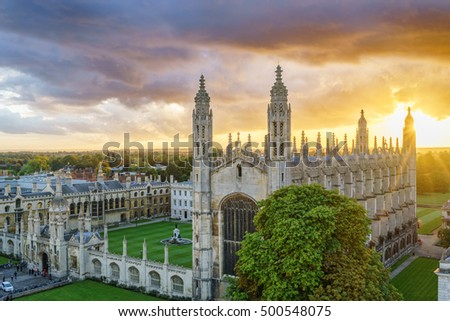 CAMBRIDGE, ENGLAND - OCTOBER 15, 2016: Kings Chapel viewed from St. Mary's Church at beautiful sunset in Cambridge, UK