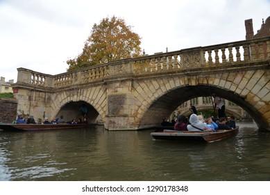 Cambridge, England – September 30, 2018: Punting, Cambridge, United Kingdom, Europe