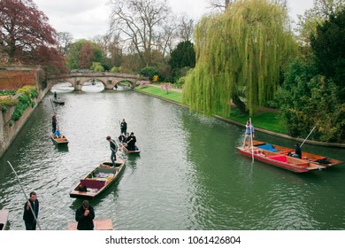 Cambridge, England, UK, April, 2016: Punting along Cambridge canals.