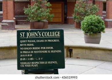 Cambridge England, United Kingdom -May 20, 2016: Exam Noticeboard St Johns College Cambridge England Uk
