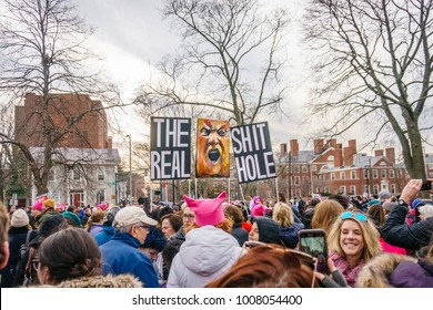 Cambridge, MA, USA–January 20, 2018. Thousands rally in Cambridge on the 1st anniversary of the Women's March. Many displayed anti-Trump signs and wore pink hats emblematic of the protest movement.