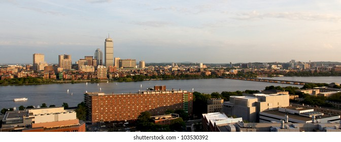 Cambridge, MA, and Boston, MA, facing one another across the river Charles near MIT/Kendall.