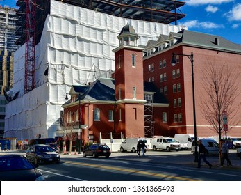 Cambridge, MA - March 16 2019: The Kendall Hotel, housed in a historic firehouse on Main Street in Kendall Square