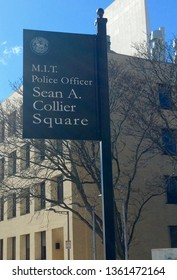 Cambridge, MA - March 16 2019: Sign for the Sean A. Collier Square on the campus of the Massachusetts Institute of Technology