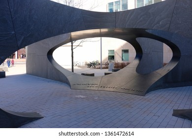 Cambridge, MA - March 16 2019: The Sean Collier Memorial on the campus of the Massachusetts Institute of Technology