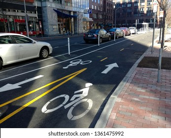 Cambridge, MA - March 16 2019: The two-way protected bike lane on Ames Street