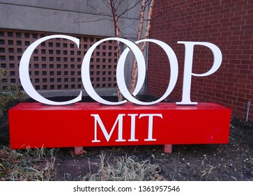 Cambridge, MA - March 16 2019: Sign for the MIT Coop bookstore