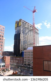 Cambridge, MA - March 16 2019: MIT Site 4 under construction at Kendall Square