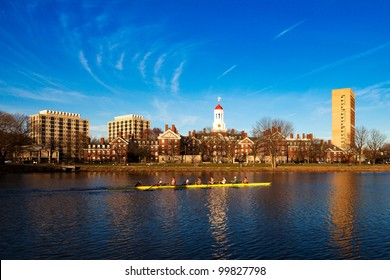 CAMBRIDGE, MA - MARCH 23: A Harvard Crimson Lightweight Crew practicing for a contest against the Delaware team on the week before the event in the Charles River in Cambridge, Massachusetts, USA.