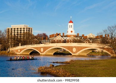 CAMBRIDGE, MA - MARCH 23: A Harvard's Crimson Lightweight Crew practicing for a race against the Delaware team in the Charles River in Massachusetts, USA one week before the contest on March 23, 2012.