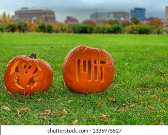 Cambridge, MA - November 1 2018: Pumpkin Carving at MIT