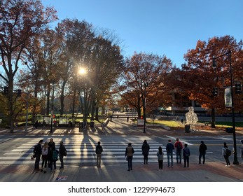 Cambridge, MA - November 8 2018: MIT Students Waiting To Cross The Road