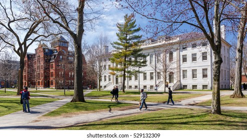 CAMBRIDGE, MA, USA - APRIL 9, 2016: Harvard University campus in spring in Cambridge, MA, USA on April 9, 2016.