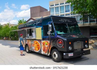 CAMBRIDGE, MA, USA - AUG. 5, 2020: Food catering truck near Old Harvard Yard in Harvard University, city of Cambridge, Massachusetts MA, USA.
