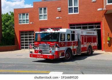 CAMBRIDGE, MA, USA - JUL. 29, 2020: Fire Truck at East Cambridge Fire Station at 175 Cambridge Street in Cambridge, Massachusetts MA, USA.