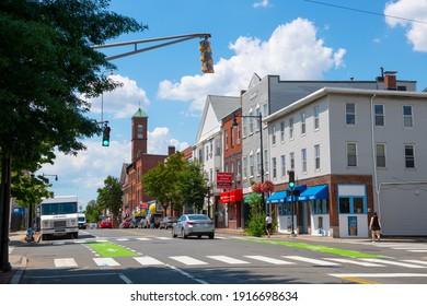 CAMBRIDGE, MA, USA - JUL. 29, 2020: Historic commercial buildings at Cambridge Street at Third Street in East Cambridge, Massachusetts MA, USA.