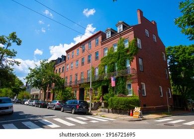 CAMBRIDGE, MA, USA - JUL. 29, 2020: Historic residence buildings at Otis  Street at Third Street in East Cambridge, Massachusetts MA, USA.