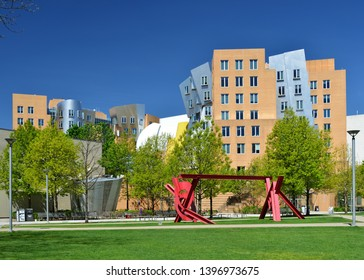 CAMBRIDGE, MA, USA - MAY 11, 2019: Ray and Maria Stata Center, by American architect Frank Gehry. Massachusetts Institute of Technology (MIT). Unique building, postmodern architecture.