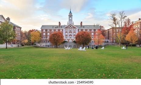 CAMBRIDGE, MA, USA - NOVEMBER 2, 2013: Radcliffe Quad undergrad housing at Harvard University in Fall in Cambridge, MA, USA on November 2, 2013.