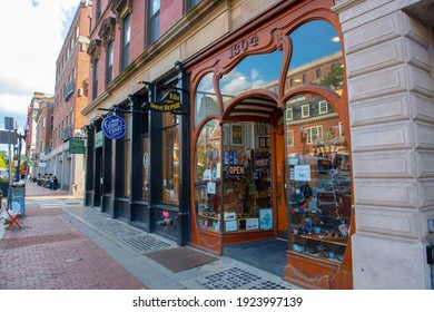 CAMBRIDGE, MA, USA - OCT. 1, 2020: Historic Felix Shoe Repair shop at 1304 Massachusetts Avenue next to Old Harvard Yard in Cambridge, Massachusetts MA, USA.