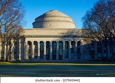 CAMBRIDGE MASSACHUSETTS - MARCH 27TH 2018; Facade and dome of the Neo classical Killian Court of the 'Massachusetts Institute of Technology' (MIT)