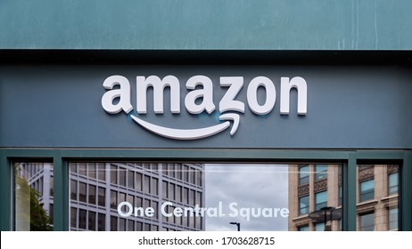 CAMBRIDGE, MASSACHUSETTS - OCTOBER 4, 2019: Branch of the Amazon located on the first floor of the red brick building