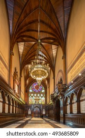 CAMBRIDGE, MASSACHUSETTS - October 4: Harvard University- Interior of  Memorial Hall on October 4, 2016 in Cambridge, Massachusetts