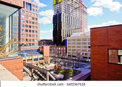 Cambridge, Massachusetts /United States-3/16/2019: aerial view of cityscape of Kendall square in winter