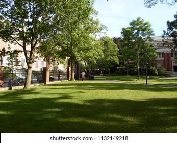 Cambridge, Massachusetts / USA - July 11 2018: Emerson Hall inside Harvard Yard at Harvard University