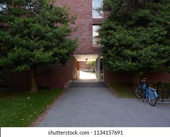 Cambridge, Massachusetts / USA - July 14 2018: Canaday Hall inside Harvard Yard at Harvard University