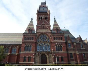 Cambridge, Massachusetts / USA - July 16 2018: Memorial Hall of Harvard University