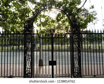 Cambridge, Massachusetts / USA - July 20 2018: Class of 1870 gate in Harvard Yard of Harvard University