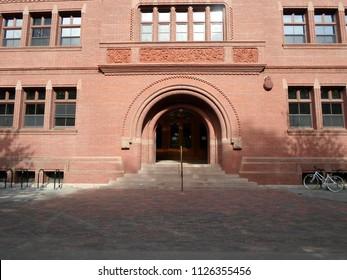 Cambridge, Massachusetts / USA - July 3 2018: Sever Hall inside Harvard Yard at Harvard University