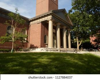 Cambridge, Massachusetts / USA - July 5 2018: Memorial Church inside Harvard Yard at Harvard University