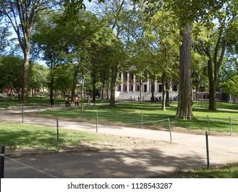 Cambridge, Massachusetts / USA - July 6 2018: Tercentenary Theatre and Widener Library (in the distance) inside Harvard Yard at Harvard University