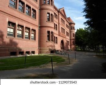 Cambridge, Massachusetts / USA - July 7 2018: Sever Hall inside Harvard Yard at Harvard University