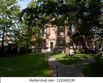 Cambridge, Massachusetts / USA - July 9 2018: Robinson Hall inside Harvard Yard at Harvard University