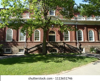 Cambridge, Massachusetts / USA - June 15 2018: Harvard Hall inside Harvard Yard of the Harvard University campus