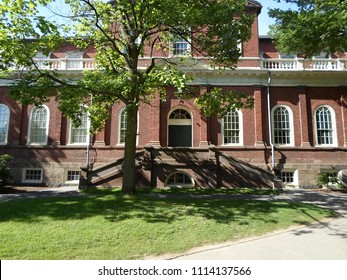 Cambridge, Massachusetts / USA - June 16 2018: Harvard Hall inside Old Harvard Yard, Harvard University