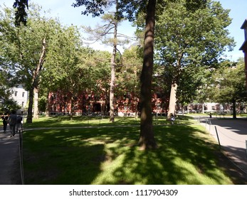 Cambridge, Massachusetts / USA - June 21 2018: Historic Weld Hall inside Harvard Yard of Harvard University