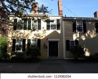Cambridge, Massachusetts / USA - June 23 2018: Historic Wadsworth House inside Harvard Yard of Harvard University