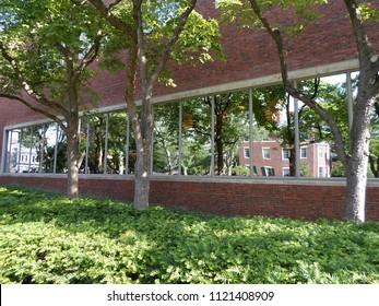 Cambridge, Massachusetts / USA - June 26 2018: Lamont Library inside Harvard Yard of Harvard University