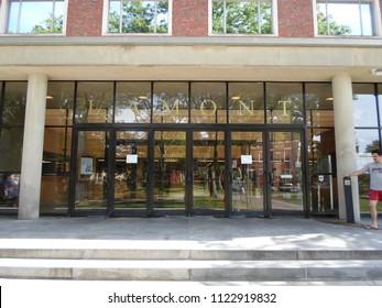 Cambridge, Massachusetts / USA - June 28 2018: Lamont Library inside Harvard Yard of Harvard University