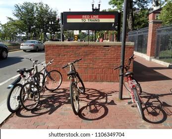 Cambridge, Massachusetts / USA - June 5 2018: Harvard Subway Station, Harvard Square