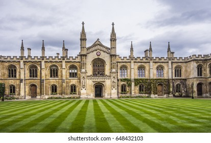 CAMBRIDGE, UK - APR 16, 2017: Courtyard of the Corpus Christi College, Is one of the ancient colleges in the University of Cambridge founded in 1352.